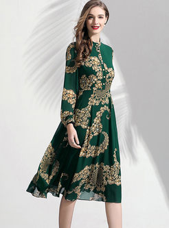 Stylish Long Sleeve Print Skater Dress