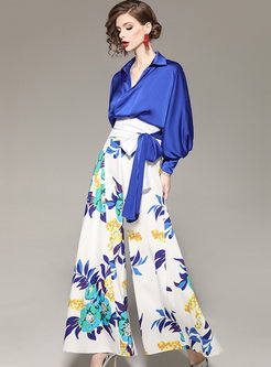 Lapel Lantern Sleeve Print Two Piece Outfits