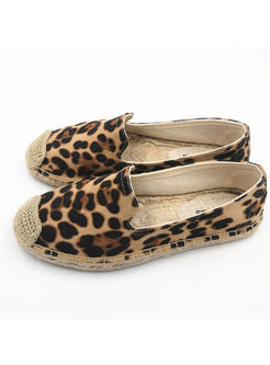 Fashion Leopard Flat Fisherman Shoes