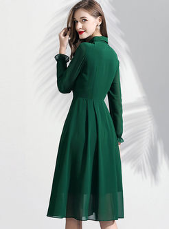 Brief Lapel Single-breasted Chiffon Dress