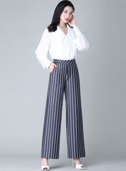 Stylish Striped Wide Leg Daily Pants
