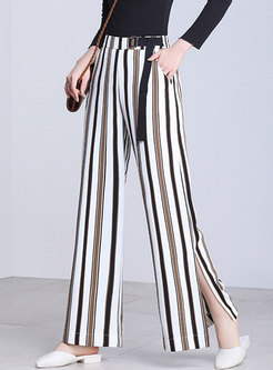 Fashion Striped Color-blocked Split Pants