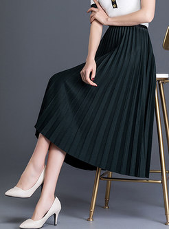 Trendy Solid Color High Waist Slim Pleated Skirt