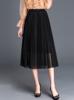 Chic Pearl Splicing Mesh Beach Pleated Skirt