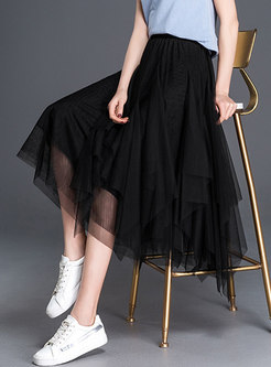 Black Asymmetrical Mesh A-line Skirt