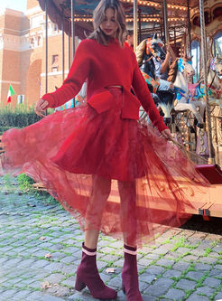 Red Elastic High Waist Mesh Skirt