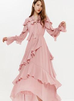 Sweet V-neck Bowknot Falbala Maxi Dress