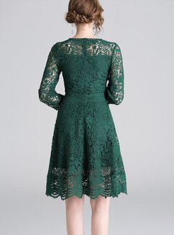 Stylish Lace Solid Color Hollow Out A-line Dress