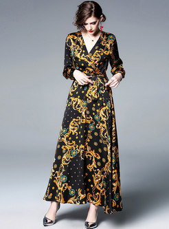 Vintage Print V-neck High Waist Tied Maxi Dress