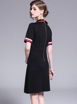 Breif Embroidered Peter Pan Collar A Line Dress
