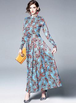 Print Standing Collar Pleated Maxi Dress