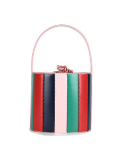 Stylish Striped Cowhide Leather Barrel Bag