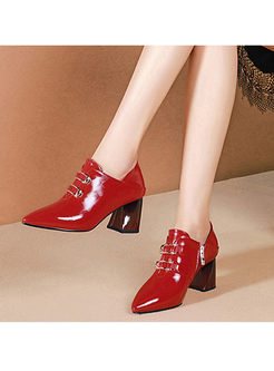 Color-blocked Pointed Head Square Heel Shoes