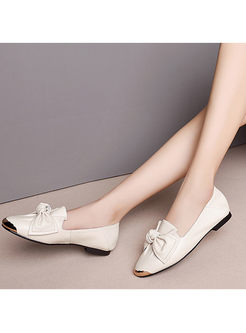 Brief Solid Color Bowknot Flat Loafers