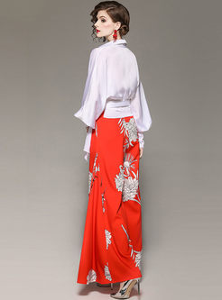 Fashion Lapel Long Sleeve Wide Leg Print Suit