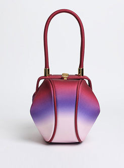 Vintage Color-blocked Dumping Shape Top Handle Bag
