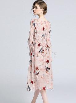 Spring/fall Flower Pattern O-neck Skater Dress