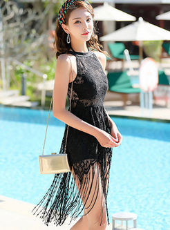 Solid Color Sleeveless Tassel Swimwear