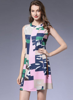Fashion Geometric Print Sleeveless Skater Dress