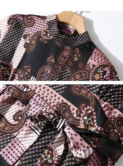 Hit Color Standing Collar Tied Slim Big Hem Dress