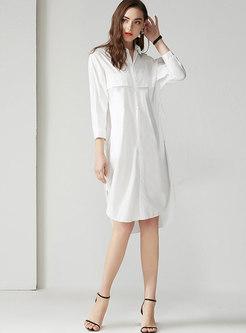 Brief Lapel Gathered Waist Slit Shirt Dress