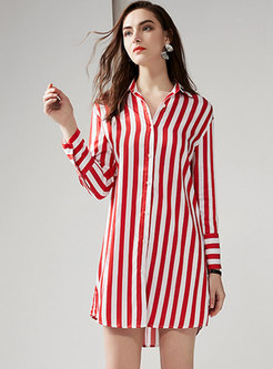 Striped Lapel Asymmetric Shift Mini Dress