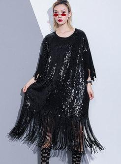 Stylish Sequins Tassel Patch Shift Dress