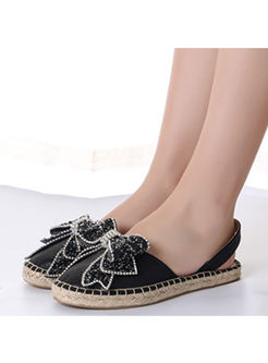 Casual Flash Drilled Bowknot Flat Slippers
