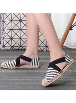 Casual Striped Spring/Fall Flat Espadrilles