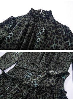 Vintage Leopard Bowknot Waist Maxi Dress