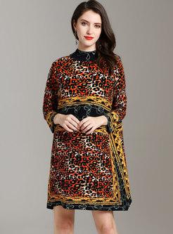 Vintage Leopard Stand Collar Pleated Mini Dress