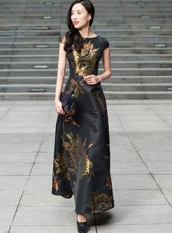 Retro O-neck Sleeveless Print Big Hem Dress