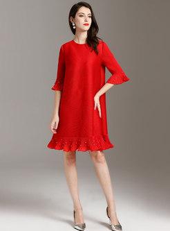Pure Color Flare Sleeve Beaded Shift Dress