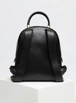 Casual Black Cowhide Leather Clasp Lock Backpack