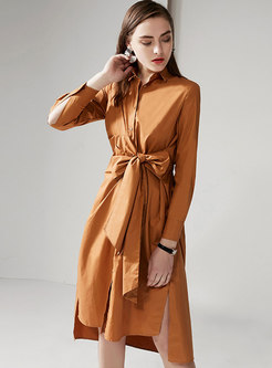 Elegant Lapel Tie-waist Slit Single-breasted Shirt Dress