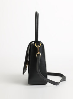 Brief Cow Leather Clasp Lock Shoulder Bag