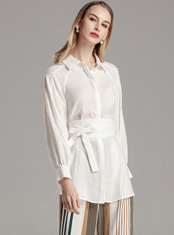 Brief Pure Color Lapel Belted Blouse