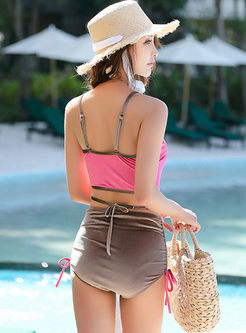 Color-blocked Tied High Waist Tankini