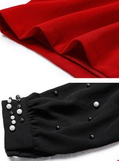 Hit Color Tied Collar Bead Bodycon Dress