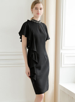 Black Diamond Stereoscopic Decoration Sheath Dress