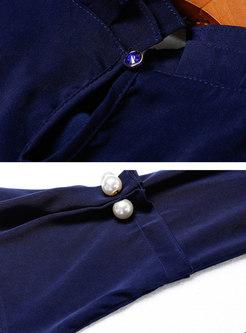 Elegant Solid Color Top & Split Sheath Dress