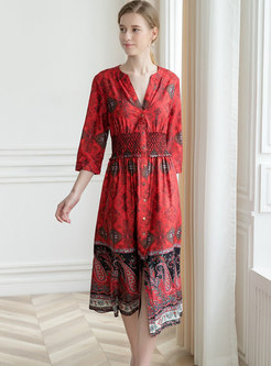 V-neck Print Hit Color Casual Dress