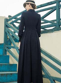 Solid Color Hollow Out Big Hem Dress