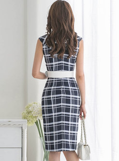 Plaid Turn Down Collar Belted Slit Sheath Dress