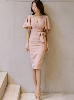 Pink Deep V-neck Belted Bodycon Dress