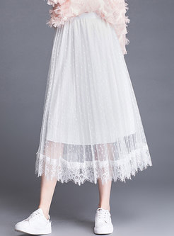 Casual Elastic Waist Polka Dot Gauze Skirt