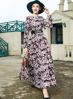 Fashion O-neck Big Hem Floral Dress