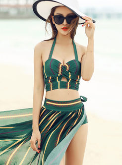 Fashion Halter Tied Cover-up Swimwear