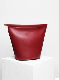 Solid Color Cowhide Leather Brief Crossbody Bag