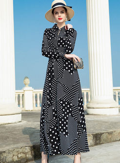 Vintage Lapel Polka Dot Chiffon Maxi Dress